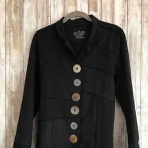 Neon Buddha Black Patchwork Asst Button Jacket